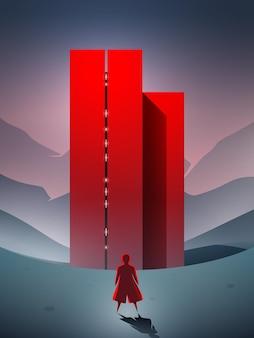 Science fiction vectorscène met een persoon die aankomt bij het futuristische rode gebouw