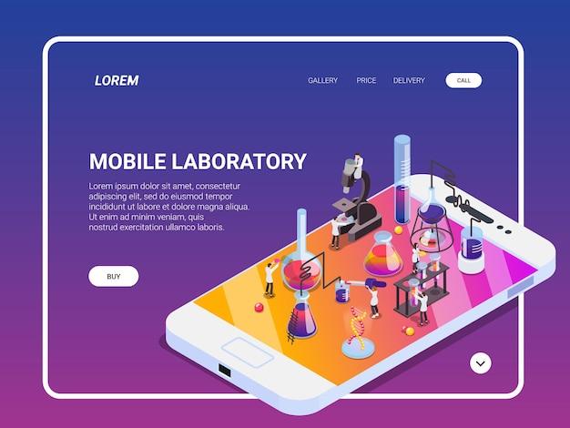 Science isometrische bestemmingspagina-website met conceptuele afbeeldingen, klikbare koppelingen, tekst en knoppen