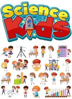 Science kids logo en set van kinderen met onderwijsobjecten geïsoleerd