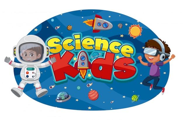 Science kids logo met astronauten en ruimtevoorwerpen Premium Vector