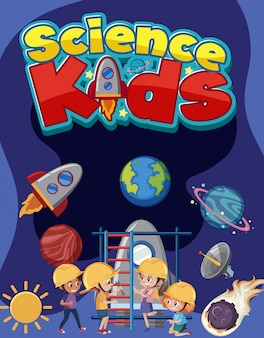 Science kids-logo met kinderen die ingenieurskostuum dragen met ruimtevoorwerpen