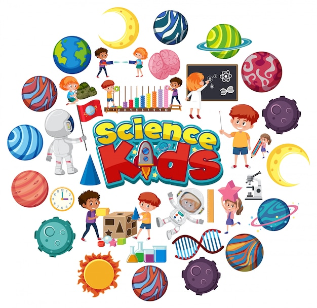 Science kids logo met veel planeten in cirkelvorm