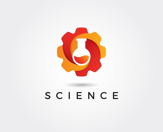 Science lab logo illustratie van atoomkern ontwerp