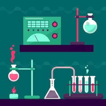 Science lab met objecten en chemicaliën