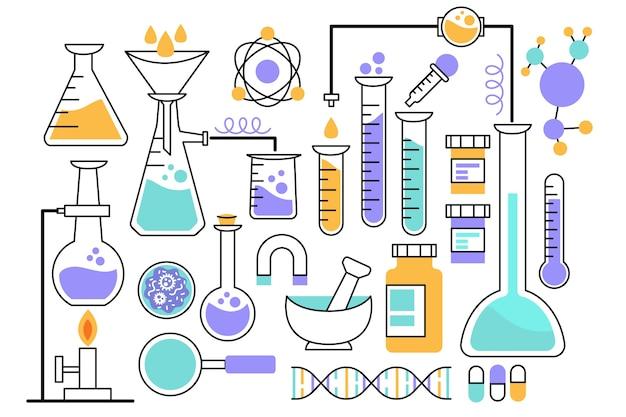 Science lab objecten concept