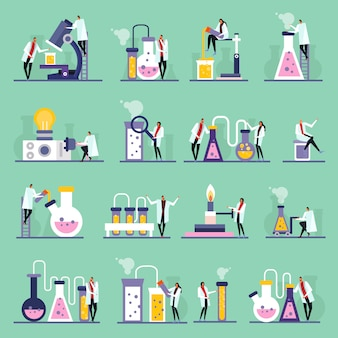 Science lab plat pictogrammen menselijke personages reageerbuisjes en flesjes met stoffen