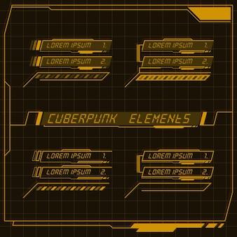 Scifi futuristische bedieningspaneelverzameling van hud-elementen gui vr ui-ontwerp cyberpunk retro-stijl