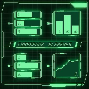 Scifi futuristische paneelverzameling van hud-elementen gui vr ui-ontwerp cyberpunk neongloed retrostijl