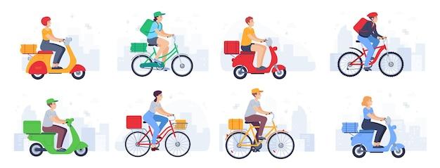 Scooter afgeleverd. guy koerier in helm op fiets draagt pakket, fastfood. leveringsproduct met bromfiets in stedelijke landschapsvectorreeks. vrouw en man karakters met rugzak, hoed op de fiets