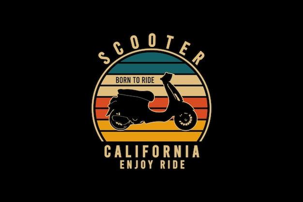 Scooter californië geniet van rit, retro vintage stijl hand tekenen illustratie