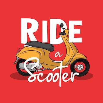 Scooter hand getekend met slogan