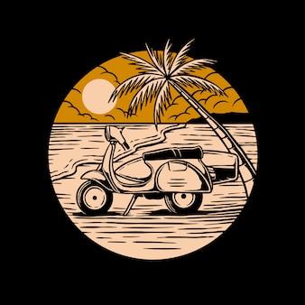 Scooter in het strand