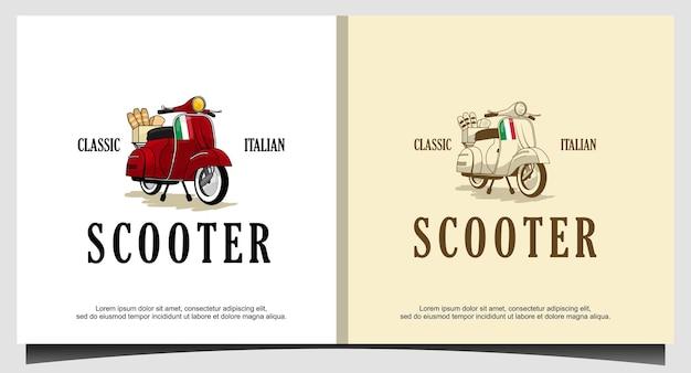 Scooter klassiek bezorglogo-ontwerp