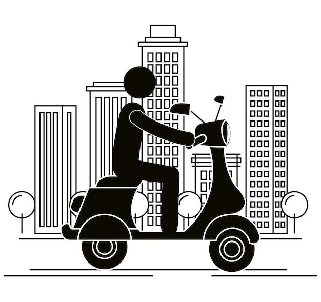 Scooter motorfiets met stuurprogramma silhouet
