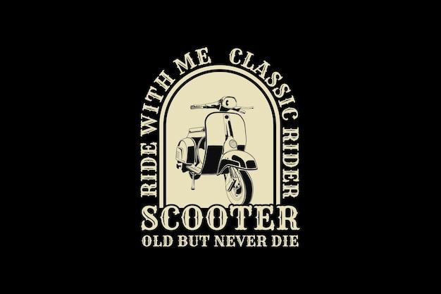 Scooters, ontwerp silhouet retro stijl.