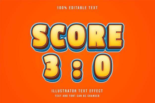 Score 3 0, 3d bewerkbaar teksteffect gele gradatie oranje blauwe komische stijl