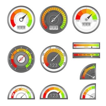 Score-indicator. snelheidsmeter indicatoren niveau score, schaal paneel versnellen rating, tarief kredietmeter vector set