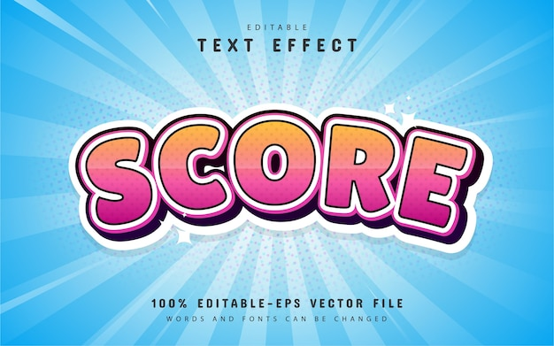 Score teksteffect cartoon stijl