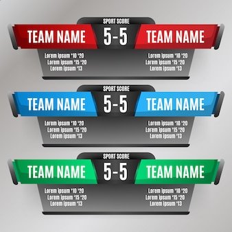 Scorebord elementen ontwerp voor voetbal en voetbal