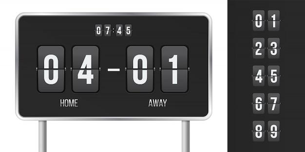 Scorebord en tijd flip countdown