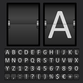 Scorebord met letters en cijfers in mechanisch paneel