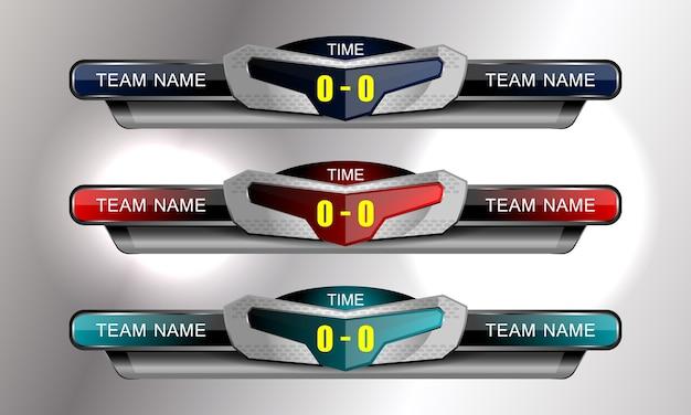 Scorebord sport sjabloon voor voetbal en voetbal