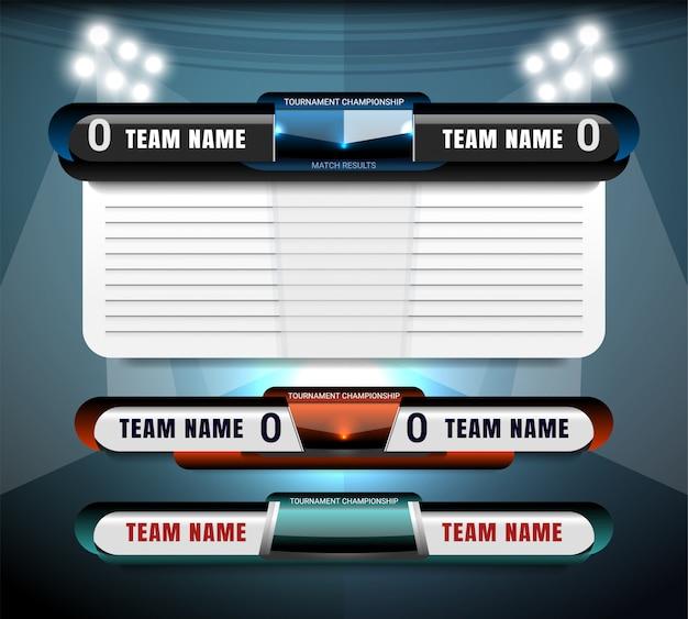 Scorebord uitzending en onderste derde grafische sjabloon voor sportvoetbal en voetbal