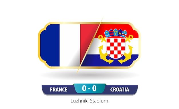 Scorebord van frankrijk tegen kroatië. finale wk 2018.