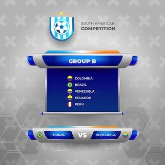 Scorebord voetbaltoernooi 2021 sjabloon. voetbalgroep b Gratis Vector