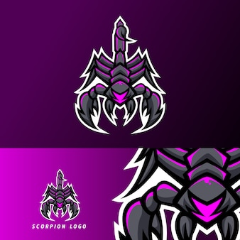 Scorpion zwarte klauw mascotte sport esport logo sjabloon