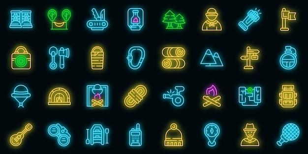 Scouting pictogrammen instellen. overzicht set van scouting vector iconen neon kleur op zwart