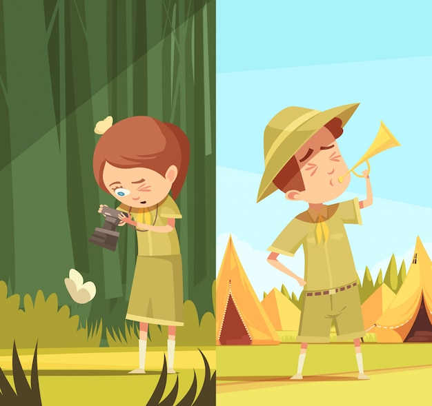 Scouts activiteiten cartoon banners set