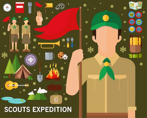 Scouts expeditie concept achtergrond. vlakke pictogrammen.
