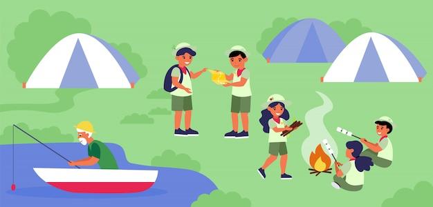 Scouts kamperen op de oever van het meer