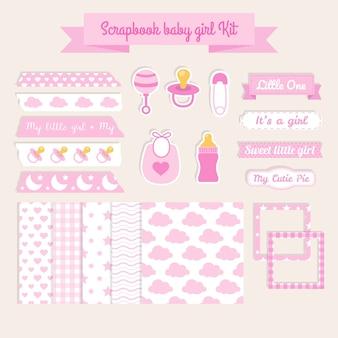Scrapbook elementen babymeisje kit