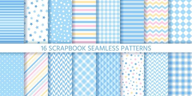 Scrapbook naadloze patroon. baby jongen achtergronden. vector. stel texturen in. blauwe retro prints.