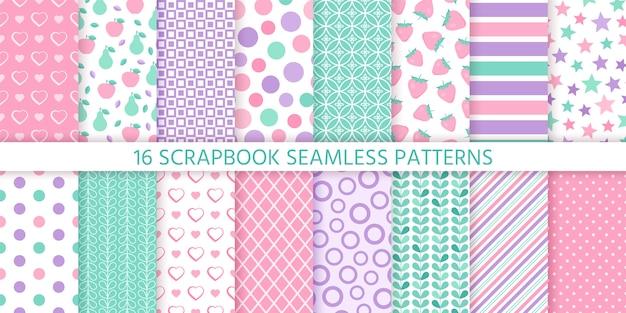 Scrapbook naadloze patroon. geometrische pastelkleuren