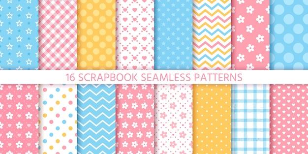 Scrapbook naadloze patroon. geometrische texturen ingesteld. pastelkleuren illustratie.