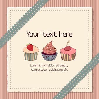 Scrapbooking kaart met cupcakes