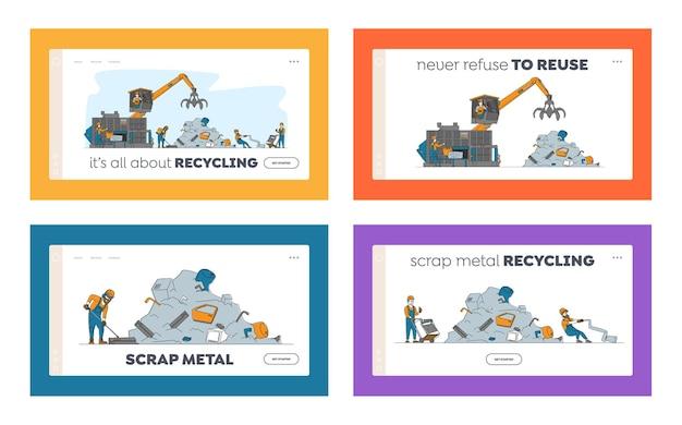 Scrapmetal recycle-industrie bestemmingspagina sjabloon set