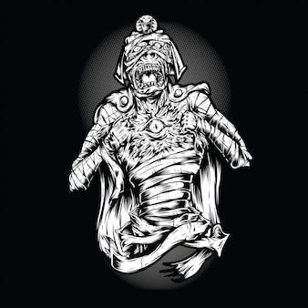 Scream mummy zwart en wit illustratie