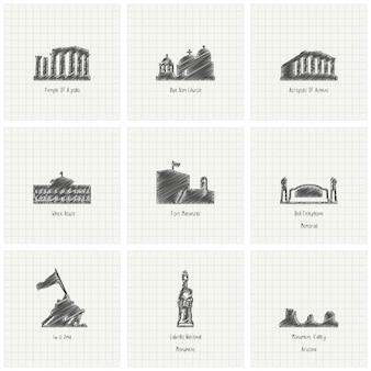 Scribble wereld monument ingesteld op papier achtergrond