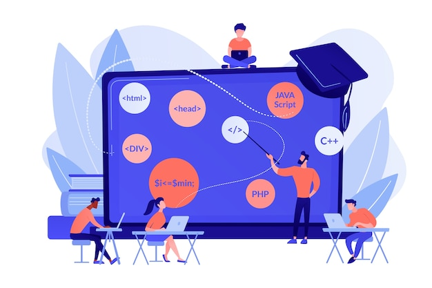 Scriptschrijven, software engineering. workshop programmeren, workshop code maken, cursus online programmeren, lesconcept voor apps en games. roze koraal bluevector geïsoleerde illustratie