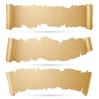Scroll papier banners vector set