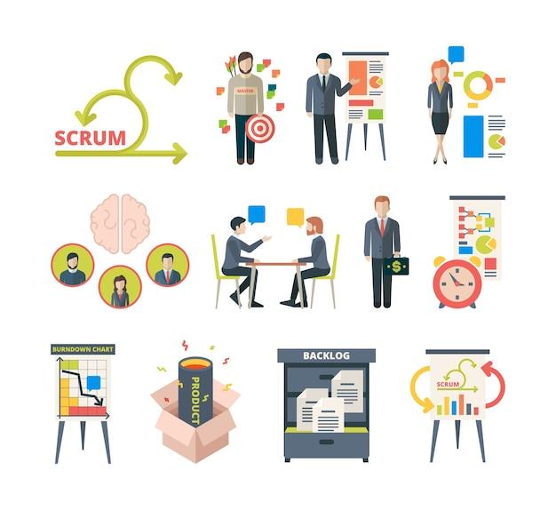 Scrum-methodologie. projectvisualisatie in retrospectieve agile software samenwerkingsbijeenkomsten zakelijk werk vector gekleurde afbeeldingen. illustratie teamwerkmethodologie, ontwikkelingsproces