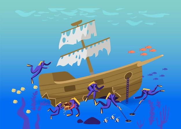 Scuba divers characters zoeken en gevonden schatten op gezonken schip liggend op ocean bottom concept. mensen in duikpakken met metaaldetectoren die de onderwaterruimte verkennen. cartoon vectorillustratie