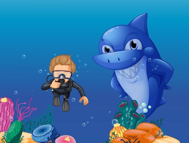 Scuba-duiker en haai onderwater