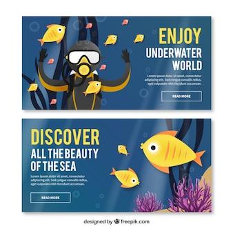 Scuba-duiker en mooie vissen banners