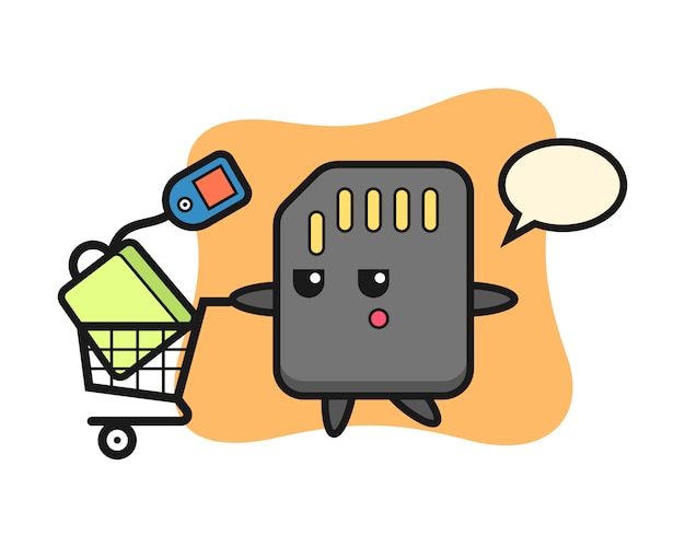 Sd-kaart illustratie cartoon met een winkelwagentje, schattig stijlontwerp voor t-shirt