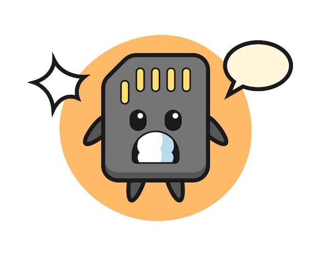 Sd-kaart karakter cartoon met geschokt gebaar, schattig stijlontwerp voor t-shirt
